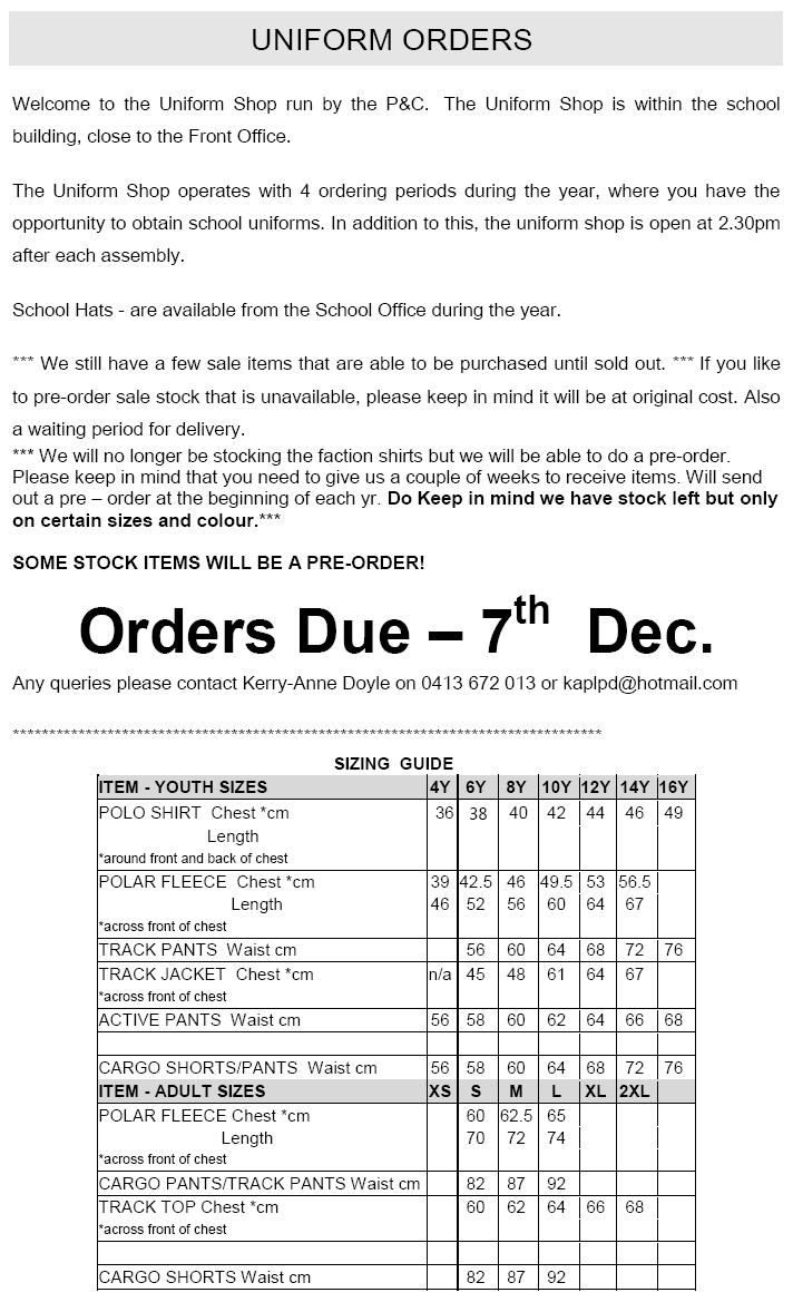 Uniform Order 2018